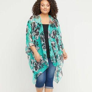 Lane Bryant-Floral Chiffon Kimono-One Size